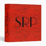 Monogrammed Red Marbling Vinyl Binder
