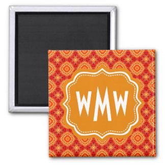 Monogrammed Red Orange Floral Octagon Diamonds 2 Inch Square Magnet