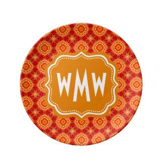 Monogrammed Red Orange Floral Octagon Diamonds Porcelain Plate