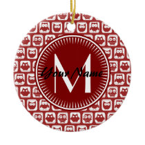 Monogrammed Red Owls, Personalized Name Ceramic Ornament
