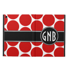 Monogrammed Red Polka Dots Pattern Ipad Air Covers at Zazzle