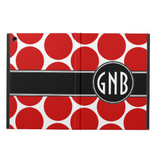MONOGRAMMED RED POLKA DOTS PATTERN iPad AIR COVERS