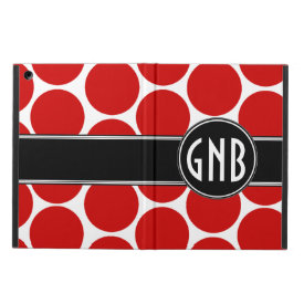 MONOGRAMMED RED POLKA DOTS PATTERN COVER FOR iPad AIR