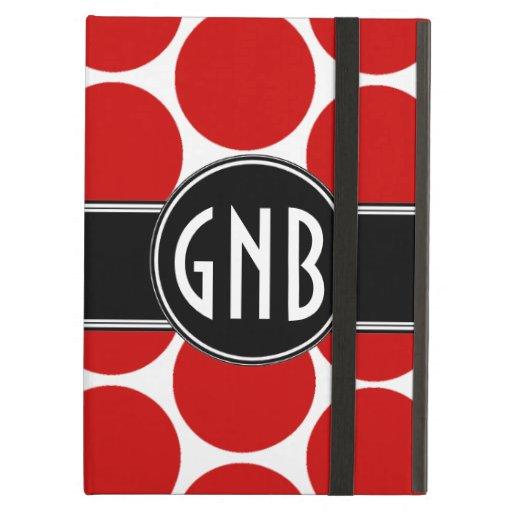MONOGRAMMED RED POLKA DOTS PATTERN iPad COVER