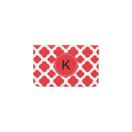 Monogrammed Red Quatrefoil Pattern Business Card Holder
