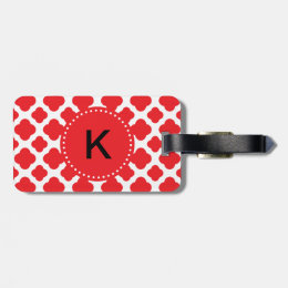 Monogrammed Red Quatrefoil Pattern Luggage Tag
