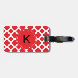 Monogrammed Red Quatrefoil Pattern Luggage Tag