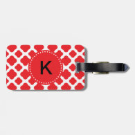 Monogrammed Red Quatrefoil Pattern Luggage Tags
