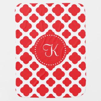 Monogrammed Red Quatrefoil Pattern Receiving Blankets