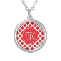 Monogrammed Red Quatrefoil Pattern Silver Plated Necklace