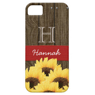 MONOGRAMMED RED RUSTIC SUNFLOWER iPhone 5 COVERS