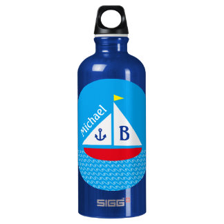 Monogrammed Red Sailboat Marine Nautical Blue Sea Aluminum Water Bottle
