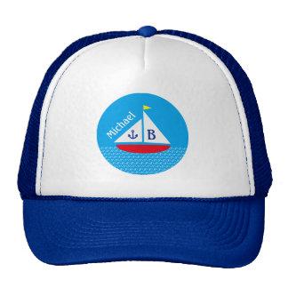 Monogrammed Red Sailboat Marine Nautical Blue Sea Trucker Hat