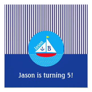 Monogrammed Red Sailboat Marine Nautical Blue Sea Invite