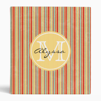 Monogrammed Red Stripe Binder