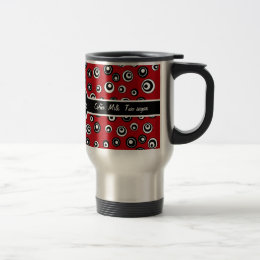 Monogrammed Red White and Black Circle Pattern Travel Mug