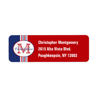 Monogrammed Red White and Blue Striped Label