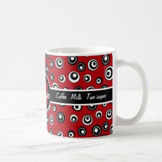 Monogrammed red,white  black circle pattern coffee mug
