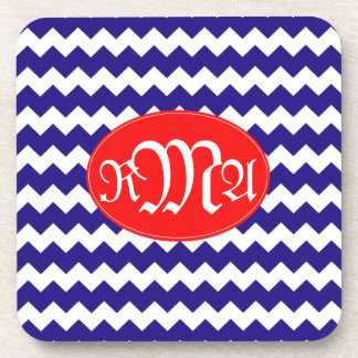 Monogrammed Red White Blue Coasters