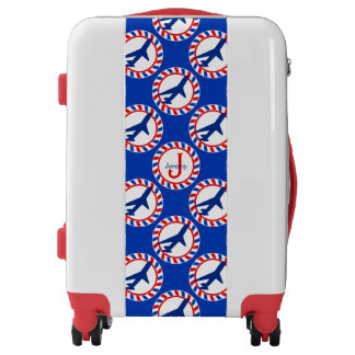 Monogrammed Red White Blue Jets Carry On Luggage