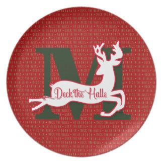 Monogrammed Reindeer | Deck the Halls| Red Plates