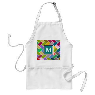 Monogrammed Repeating Brick Pattern Adult Apron