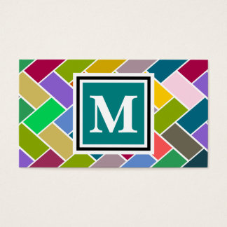 Monogrammed Repeating Brick Pattern Business Card