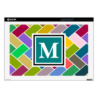 """Monogrammed Repeating Brick Pattern Decal For 17"""" Laptop"""