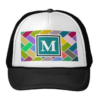 Monogrammed Repeating Brick Pattern Mesh Hats