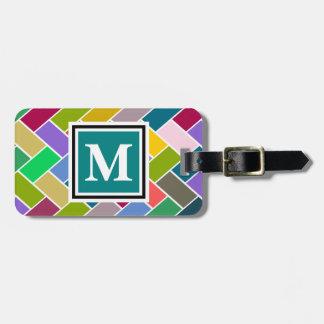Monogrammed Repeating Brick Pattern Luggage Tag