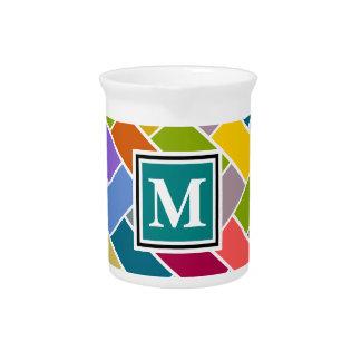 Monogrammed Repeating Brick Pattern Beverage Pitchers