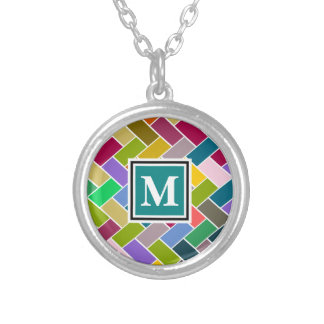 Monogrammed Repeating Brick Pattern Silver Plated Necklace