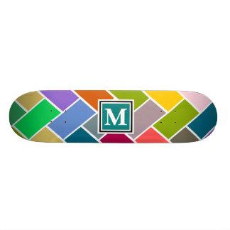 Monogrammed Repeating Brick Pattern Skate Board
