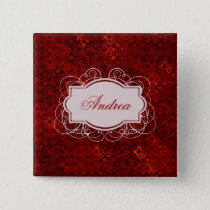 Monogrammed Retro Red Dots Pattern Button