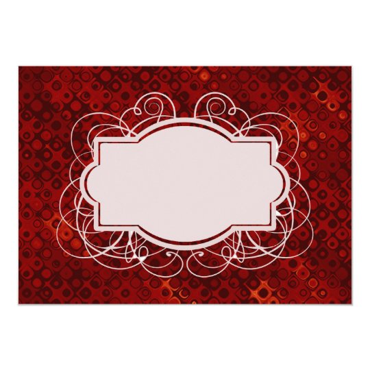 Monogrammed Retro Red Dots Pattern Card