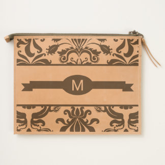 Monogrammed Ribbon with Bold Vintage Damask Travel Pouch