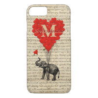 Monogrammed romantic elephant and heart iPhone 7 case