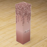 """Monogrammed Rose Gold Glitter Drips Wine Gift Box<br><div class=""""desc"""">Monogram Rose Gold Dripping Glitter Metallic personalized slim wine gift box.  Custom monogram metallic faux foil gradient with simulated dripping glitter graphic gifting box by adding your recipient's name and last initial with zazzle's easy to use personalization tool.</div>"""