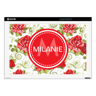 Monogrammed Rose Pattern Decal For Laptop