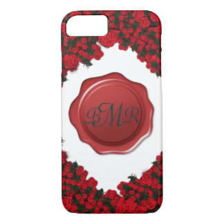Monogrammed Rose Wreath with Wax Seal iPhone 8/7 Case