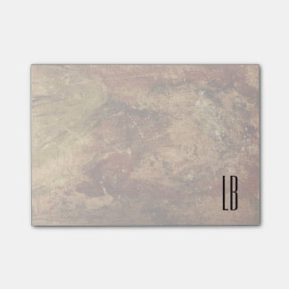 Monogrammed Rough and Weathered Grunge Texture Post-it Notes