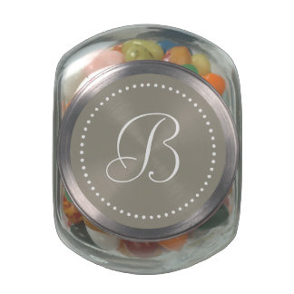 Monogrammed Round Aluminum/White Dot Border Jelly Belly Candy Jar