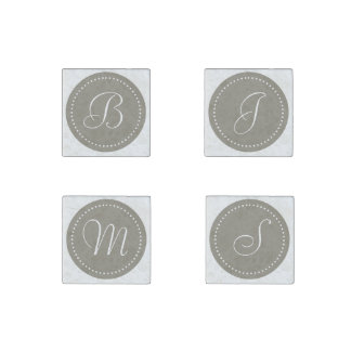 Monogrammed Round Aluminum/White Dot Border Stone Magnet
