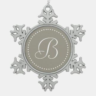 Monogrammed Round Aluminum/White Dot Border Snowflake Pewter Christmas Ornament