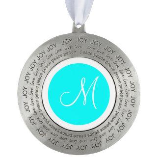Monogrammed Round Aqua Blue Monogram Border Pewter Ornament