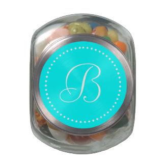 Monogrammed Round Aqua Blue/White Dot Border Glass Candy Jars