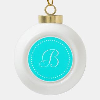 Monogrammed Round Aqua Blue/White Dot Border Ceramic Ball Christmas Ornament