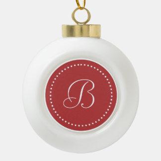 Monogrammed Round Aurora Red/White Dot Border Ceramic Ball Christmas Ornament