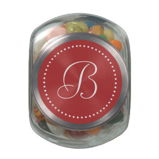 Monogrammed Round Aurora Red/White Dot Border Jelly Belly Candy Jars