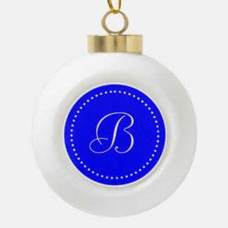 Monogrammed Round Blue/White Dot Border Ceramic Ball Christmas Ornament